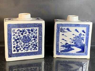 2 x Antique Chinese Porcelain Blue And White Tea Caddy 18th Century