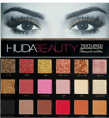New HUDA BEAUTY Rose Gold Edition Textured Eye Shadow Palette 18 Colours Gift UK