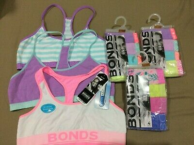 $1.71/pc NEW BONDS GIRLS 3x CROP BRA TOP +12 BONDS BIKINI underwear 14-16 panty