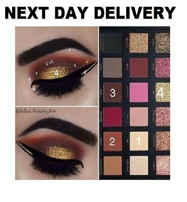 2019 HUDA BEAUTY Rose Gold Edition Textured Eye Shadow Palette 18 Colours Gift