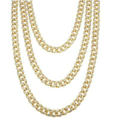 9bc0e98b23fd7 NEW ICED OUT 3 Prong One Row Hip Hop 14k Gold Finish Tennis Necklace ...