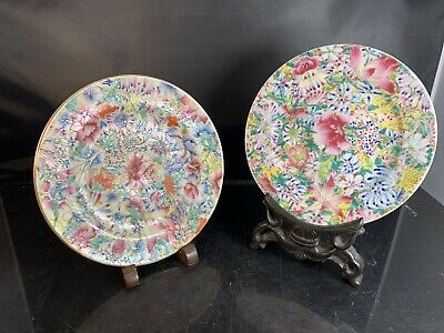 2 X Antique Chinese Porcelain Families Rose Dish 19th Century