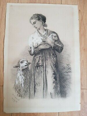 Antique 1800s Pencil Sketch - Portrait of Lady holding a lamb - Arts and crafts