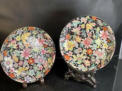 A Pair Antique Chinese Porcelain Families Rose Dish 19th Century