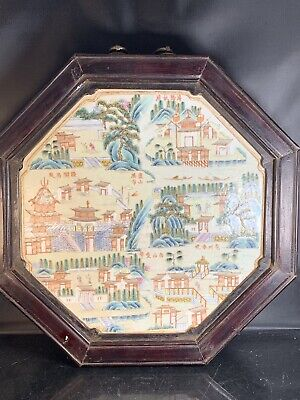 Unusual Antique Chinese Porcelain Families Rose Wall Plaque Early 19th Century
