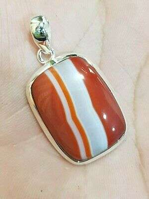 Top Quality Red Banded Agate 925 Sterling Silver Pendant Cushion Shape 1.6""