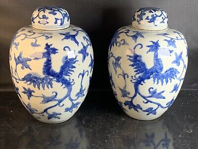 A Pair Antique Chinese Porcelain Blue And White Jar With Lid 19th Century