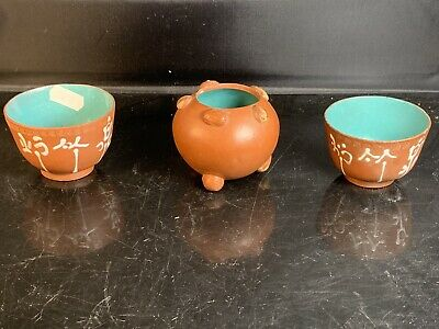3 X Antique Chinese YiXing ZiSha Cup And Pot 19/20th Century