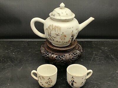 Antique Chinese Canton Porcelain Black Teapot And 2 Cups 18th Century