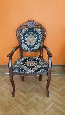 Louis  XVI french style armchair Vintage Armchair Orange Green flowery Pattern