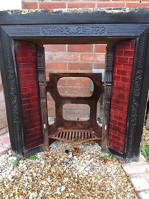 Late Victorian / early Edwardian Antique Cast Iron Tiled Combination Fireplace