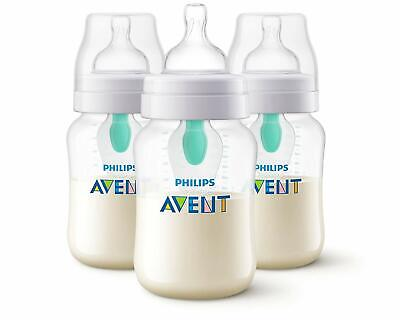 - NEW - Avent Anti-colic bottle with AirFree vent 9oz, 3 Pack, Clear