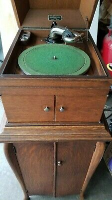 1919 Victor Victrola Table Top Record Phonograph VV-IX Dealer Tag w/ Cabinet