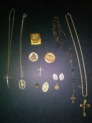 Lot of Ornate Vintage Religious Items Rosary, crosses, emblems, pins, pill box