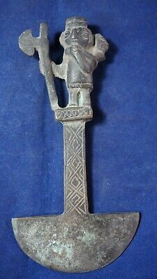 Peruvian ceremonial knife carved in oxidized copper