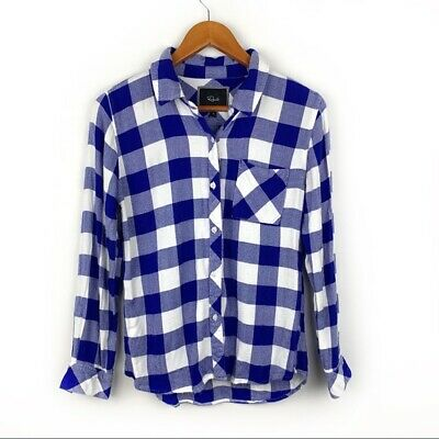 womens Rails blue checkered button up top, size Small, *damaged
