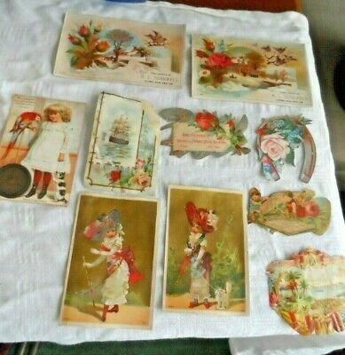 Antique Lot of 10 Victorian Trade Cards & Scrap - Assorted