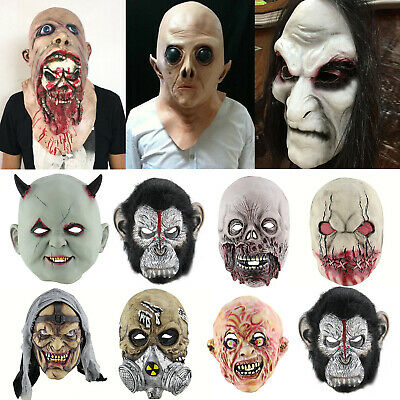 Latex Full Head Bloody Creepy  Mask Evil Scary Ghost Mask for S3C7