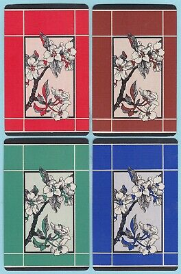 4 Single VINTAGE Swap/Playing Cards ID FLOWERS 'APPLE BLOSSOM' Red Brn Grn Blue