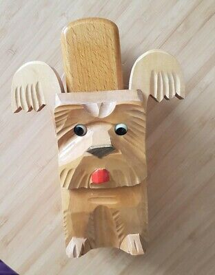 Vintage Wooden (Black Forest?) Terrier Dog Clothes Brush - Unusual/Rare !