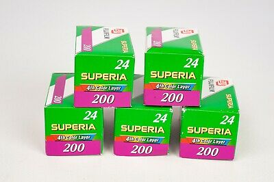 Fuji Superia 200/24 x5 unit of 35mm film for color print  EXPIRED  05/2006
