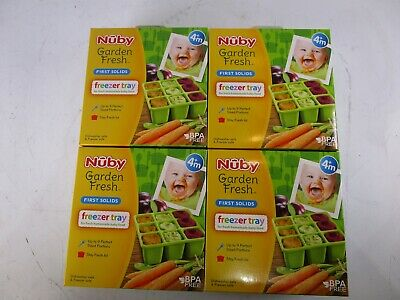Nuby Garden Fresh Freezer Tray with Lid, Colors May Vary 4 pack