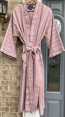 Towncraft Men's Vintage Cotton Blend Red, White Stripe Robe. One Size All Fits