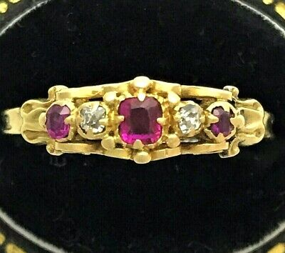 18ct Gold Victorian Delicate Ring Rubies & Diamonds Size UK S / US 9.25