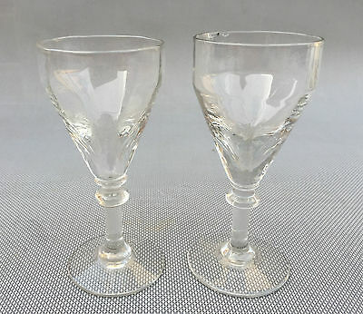2 Antiguos Vasos Pie Arte Pop Colección Vintage French Antiguo Glass
