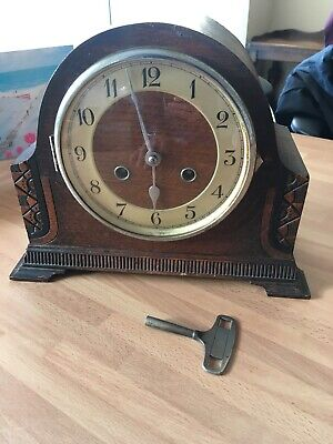 Vintage Dark Wood Mantle Clock With Haller Movement Single Chime