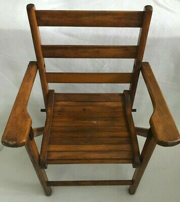 Vintage child's outdoor wood slat folding chair