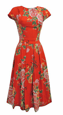 New Red Floral Wartime 1930's 40's Vintage Retro Style Swing Tea Dress