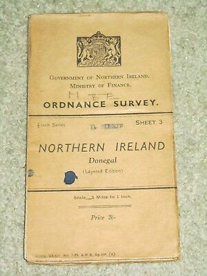 """Ordnance Survey of Ireland Antique 1/2"""" 1912 - Donegal; sheet 3 on cloth"""
