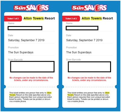 2 X eTickets tickets for Alton Towers Saturday 7th September 2019