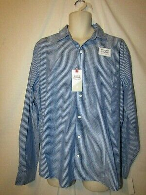 074a432700 mens Izod saltwater untucked LS button shirt XL nwt $55 true blue pinstripe