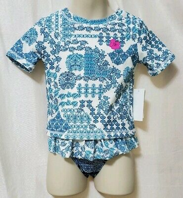 Tommy Bahama Girls' Short Sleeve Two Piece Rash Guard Set - 3T