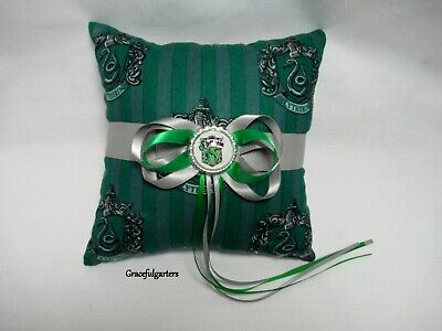 Harry Potter Slytherin wedding ring cushion/pillow. always