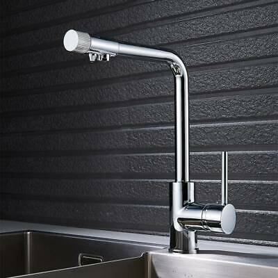 3 Way Luxury Water Filter Kitchen Sink Mixer Tap Twin Lever 360° Swivel Spout