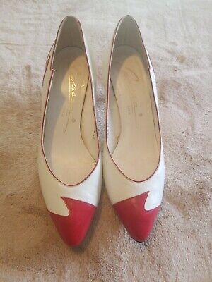 284ef1fe27e0a VINTAGE CARESSA HIGH Heel Shoes Red and White Size 6.5S Spain Made. Leather