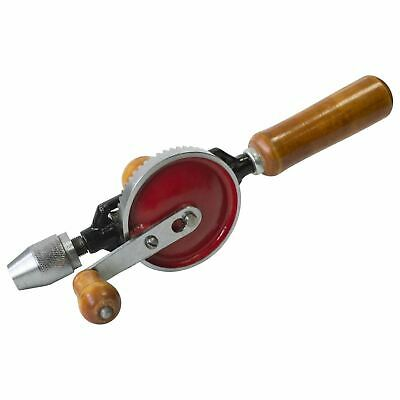 "Double Pinion 1/4"" Hand Drill Chuck Wooden Handle Intricate Drilling Crank"