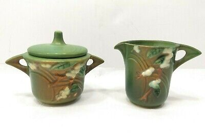 Vintage 1940s Scarce Roseville Pottery SNOWBERRY Green Cream + Sugar Set w/ LID