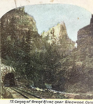 Antique Stereoscopic Card Canon Of Grand River Glenwood Colorado 3-D Stereoview