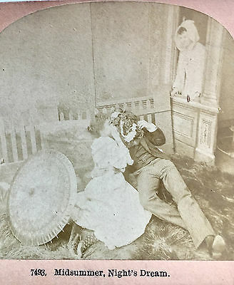 """Risque Antique 1892 Stereoscopic Card """"Midsummer Night's Dream"""" Stereoview Photo"""