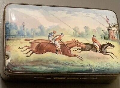 RARE ANTIQUE SILVER AND ENAMEL HORSE RACING VESTA BY THORNHILL & Co 1885