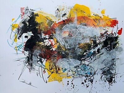 Beto Mejia Original Modern Art Abstract Expressionist Painting Mixed Media Paper