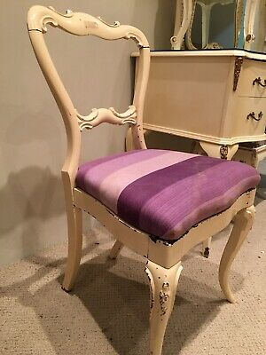 Vintage French Louis Style carved and painted balloon backed Dining / Side Chair