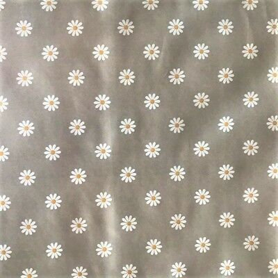 Vinyl Pvc Tablecloth White Daisy on Grey Plastic Wipe Clean Table Cloth (284)