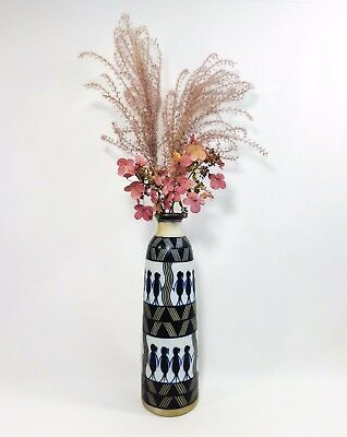 Modernist Tall Banded Vint Unsigned Decorated Stoneware Vase W/Striping/Figures