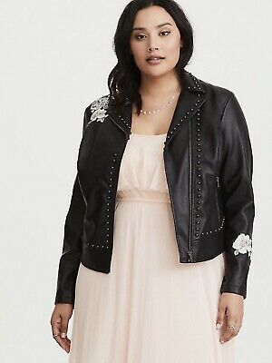 a71e17236e8 Torrid Women s Motorcycle Faux Leather Jacket Embellished Studded Size 2