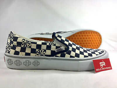VANS X INDEPENDENT Slip On Pro Blue & White Checkerboard Skate Shoes z1